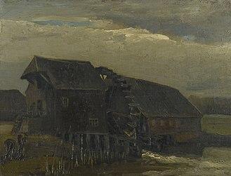 Nuenen, Gerwen en Nederwetten - Water Mill at Opwetten, by Vincent van Gogh, 1884 (F48)