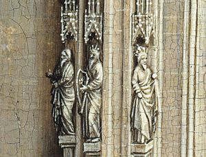 Virgin and Child Enthroned - Figures to the left of the Virgin. David, standing in the centre, holds a harp.