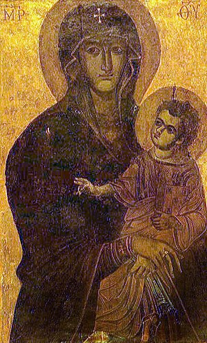 Madonna (art) - The Salus Populi Romani icon, overpainted in the 13th century, but going back to an underlying original dated to the 5th or 6th century.
