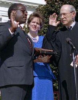 Clarence Thomas - Clarence Thomas being sworn in by Byron White, as wife Virginia Lamp Thomas looks on