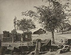 Vitcher Nag, Srinagar Kashmir ruins of Hindu temple, converted into a Muslim graveyard, 1868 photo.jpg