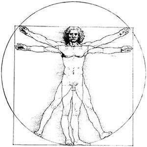 Human Genome Project - Logo HGP; Vitruvian Man, Leonardo da Vinci