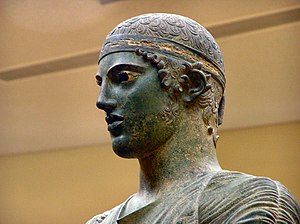 Charioteer of Delphi - Charioteer of Delphi, close up head detail.