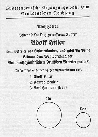 Sudetenland - Election ballot, Reichsgau Sudetenland, December 1938