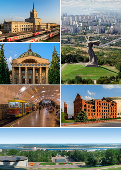 Counterclockwise: The Motherland Calls on Mamayev Kurgan, the railway station, Planetarium, The Metrotram, Panorama of the City, Gerhardt Mill