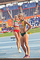 Volha Sudarava and Lynique Prinsloo (2013 World Championships in Athletics) 02.jpg