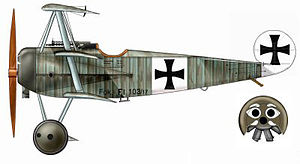 Werner Voss - The famous Fokker Triplane of Werner Voss. Its low wing loading gave it manoeuvrability and a high climb rate.