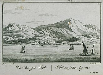 Aigio - Vostizza giá Egio, 1820 illustration by Pomardi Simone
