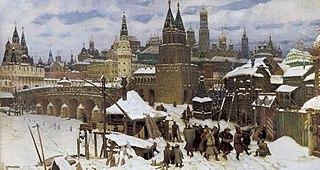 Vsehsvyatsky Kamenny bridge. Moscow at the end of 17th century