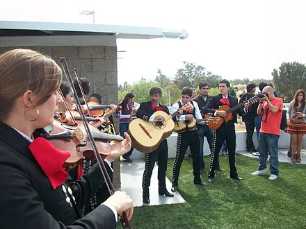 Mariachi group playing at the 10th anniversary celebration of Wikipedia in Guadalajara. Mariachi is a musical expression inscribed in the UNESCO Intangible Cultural Heritage List in 2011. WP10GDL10.JPG
