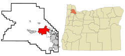 Washington County Oregon Incorporated and Unincorporated areas Hillsboro Highlighted.svg