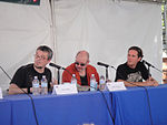File:WeHo Book Fair 2010 - Steve Niles, Mike Mignola, Hans Rodionoff at the HP Lovecraft and the Horror of Comics panel (5028648304).jpg
