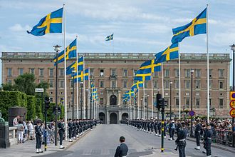 Wedding of Prince Carl Philip and Sofia Hellqvist - Guards lining the palace