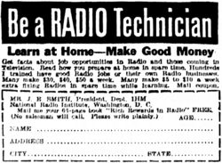 Advert for a Radio Technician course from the National Radio Institute.