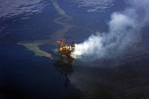 Montara oil spill - The damaged Montara Wellhead Platform before catching fire