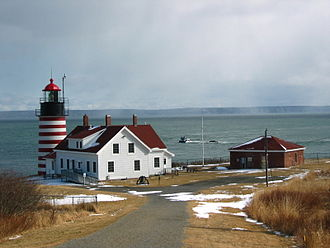 Lubec, Maine - West Quoddy Head Lighthouse and Quoddy Narrows, with Grand Manan Island, Canada, in background