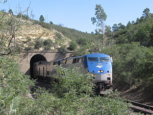 Raton Pass - Amtrak's Southwest Chief westbound out of the Raton Tunnel near the summit of Raton Pass