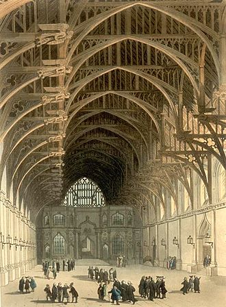Norman and Medieval London - Westminster Hall, with hammer-beam roof added by Richard II in 1393. The windows and internal decoration of the walls are similarly of later Gothic design. Little of the Norman edifice remains. 19th-century depiction.