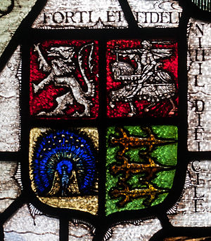 O'Keeffe - Coat of arms and motto forti et fideli nihil difficile on a stained glass window in Wexford by Harry Clarke
