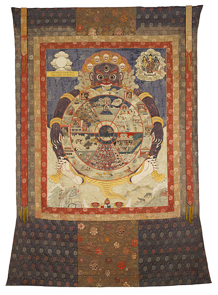 Traditional Tibetan Buddhist Thangka depicting the Wheel of Life with its six realms Wheel of Existence.jpg