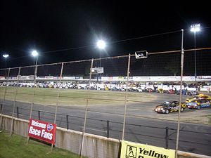 Stafford Motor Speedway - Whelen Modifieds lined up before a race