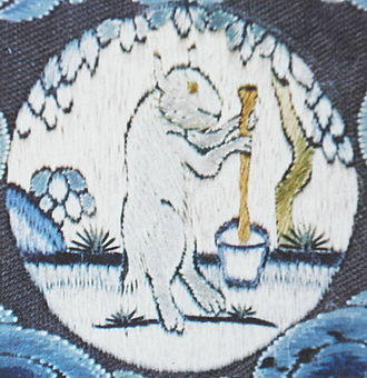 Moon rabbit - The mythological white hare making the elixir of immortality on the Moon, from Chinese mythology. Embroidered onto 18th-century Imperial Chinese robes.