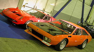 "Bob Wallace (test driver) - Two Bob Wallace-modified Lamborghinis: the Miura P400 Jota (left, replica of original) and the Jarama ""Bob"" (right)"