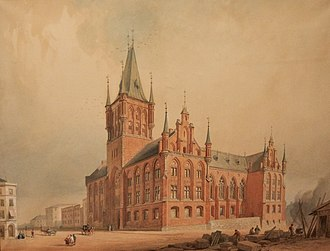 Storting building - The proposal by Heinrich Ernst Schirmer and Wilhelm von Hanno that won the 1856 competition, but was finally rejected by the Storting.