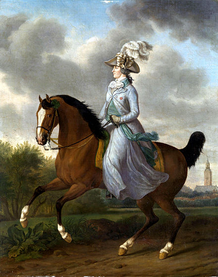 Equestrian portrait of Wilhelmina by Tethart Philipp Christian Haag hangs in the Rijksmuseum in Amsterdam Wilhelmina of Prussia (1751-1820) by Tethart Philipp Christian Haag.jpg