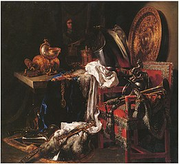 Still life with weaponry, silverware and mirror image of the artist
