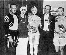 William Acton, Margot Bendir, Elizabeth Ponsonby, Harry Melville, Babe Plunket Greene at David Tennant's party 1928.jpg