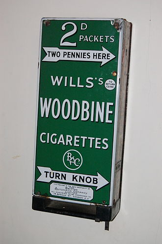 W.D. & H.O. Wills - A Woodbine vending machine, now in the Staffordshire County Museum at Shugborough Hall, England
