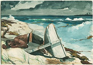 1899 San Ciriaco hurricane - Winslow Homer painting of a man lying on a beach next to his destroyed boat in the Bahamas