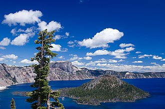 Mount Mazama - Postcaldera activity has included the production of the Wizard Island cinder cone volcano in Crater Lake