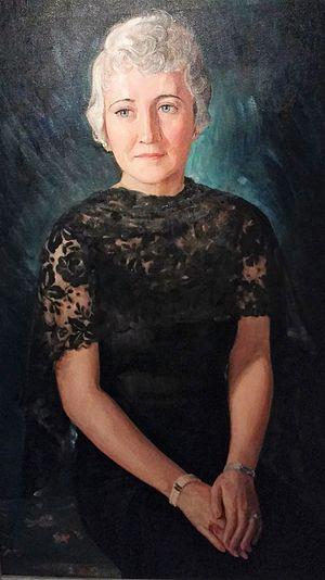Louise Brann - Oil Portrait of Woman in Black Lace, by Louise Brann, 1935