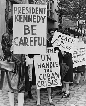 Anti-nuclear movement in the United States - Women Strike for Peace during the Cuban Missile Crisis in 1962.
