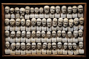 William Bally - Wooden case containing 60 small phrenological heads, by William Bally, ca. 1831