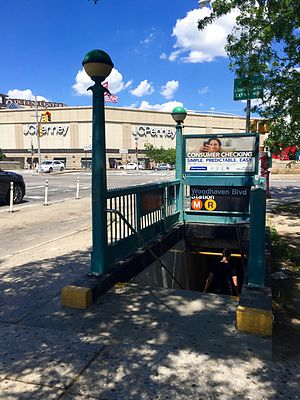 "Woodhaven Boulevard (IND Queens Boulevard Line) - One of the ""orphaned"" station entrances, at the southeast corner of Woodhaven Boulevard and Queens Boulevard."