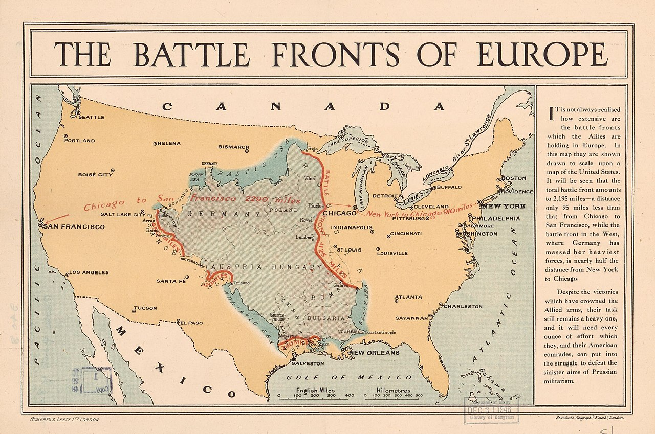 Picture of: File World War I Battle Fronts Of Europe Overlaid Over A Map Of The United States Jpg Wikimedia Commons