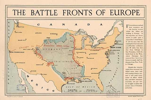 FileWorld War I Battle Fronts Of Europe Overlaid Over A Map Of - Map of us over europe