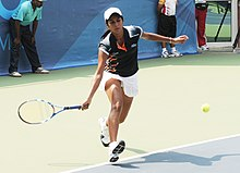 XIX Commonwealth Games-2010 Delhi Indian Tennis player Chakravarthi Rushmi in action during an opening match against Monthala Pinki Agnes of Lesotho, at R.K. Khanna Tennis Stadium, in New Delhi on October 04, 2010.jpg
