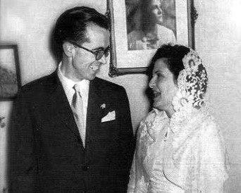Xosé Neira Vilas e Anisia Miranda Fernández no día do seu casamento 1957
