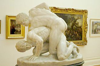 Mixed martial arts - ''The Pancrastinae'': A statue portraying the pancratium, an event showcased at the Roman Colosseum. Even as late as the Early Middle Ages, statues were put up in Rome and other cities to honour remarkable pankratiasts. This statue, now part of the Uffizi collection, is a Roman copy of a lost Greek original, circa 3rd century BC.
