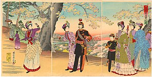 Emperor Taishō - Crown Prince Tōgu with his father and mother strolling in Asukayama Park accompanied by ladies of the court. Colour woodblock print by Yōshū Chikanobu, 1890