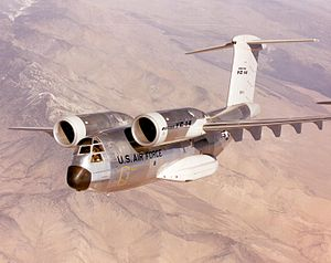 Boeing YC-14 - One of the two YC-14 prototypes conducting flight testing.