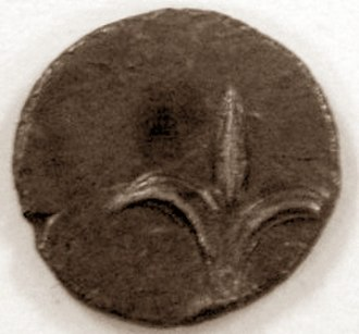 Yehud coinage - Reverse of a Yehud coin from the Persian era, with lily (symbol of Jerusalem)