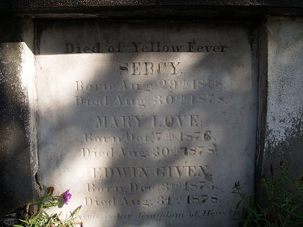 Headstones of people who died in the yellow fever epidemic of 1878 can be found in New Orleans' cemeteries. Yellow Fever Deaths Lafayette Cemetery 1 New Orleans.jpg