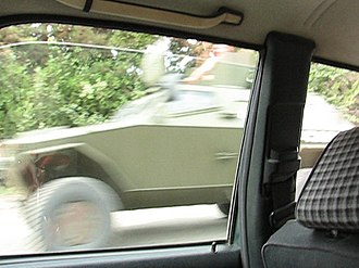 Timeline of the Russo-Georgian War - Georgian armoured vehicle in Zahesi on its way north in the late afternoon on August 7, 2008.