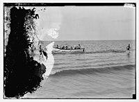 Zionist activities around Haifa. Haifa Beach. Members of the Hapoel Club off for boat drill) LOC matpc.04742.jpg