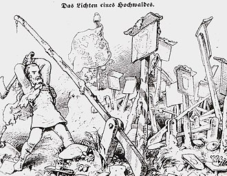 Early 19th century anti-Kleinstaaterei cartoon calling for the elimination of the myriad custom barriers between statelets Zollschranken.jpg